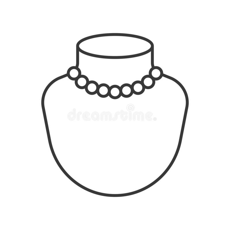 Pérola ou colar dos grânulos, ícone do vetor do esboço ilustração stock