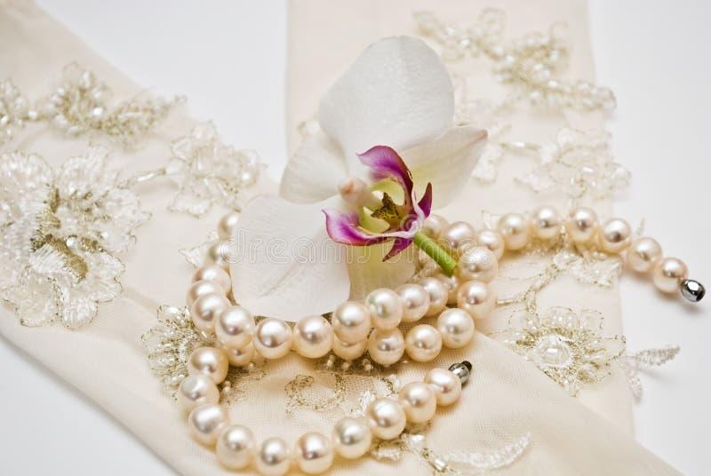 Pérolas e botão da orquídea foto de stock royalty free