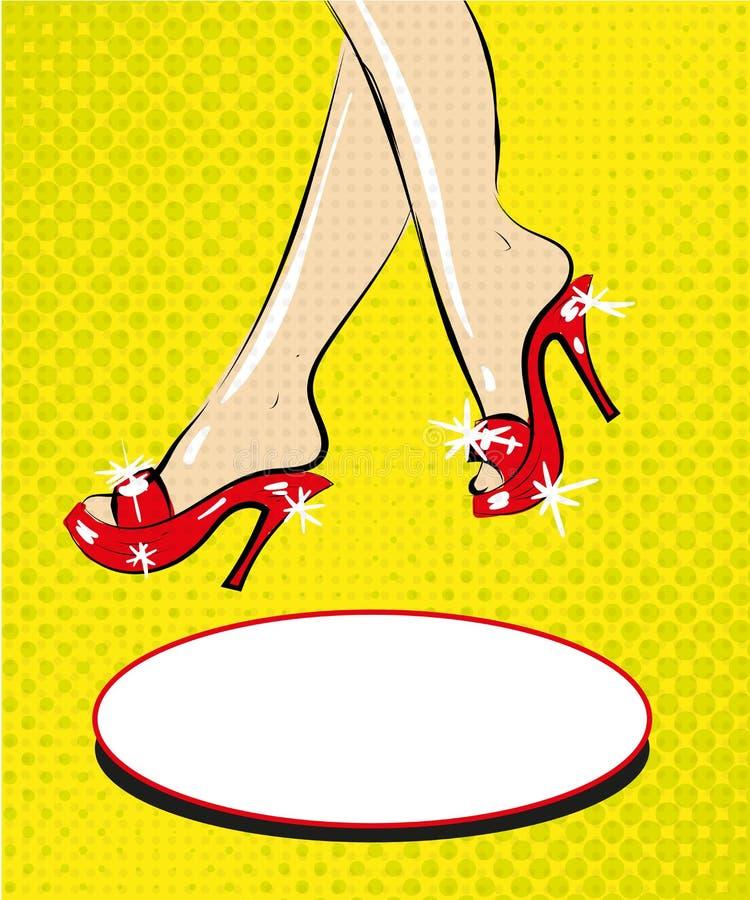 Pés da mulher em sapatas vermelhas no vetor cômico da forma do pop art dos saltos ilustração do vetor
