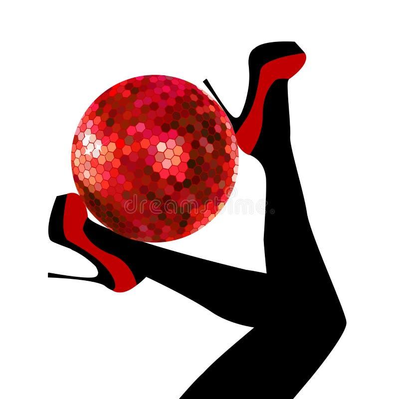Pés da mulher que guardam uma bola do disco ilustração royalty free
