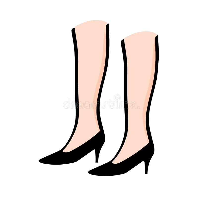 Pés da mulher que vestem a ilustração dos saltos altos ilustração do vetor
