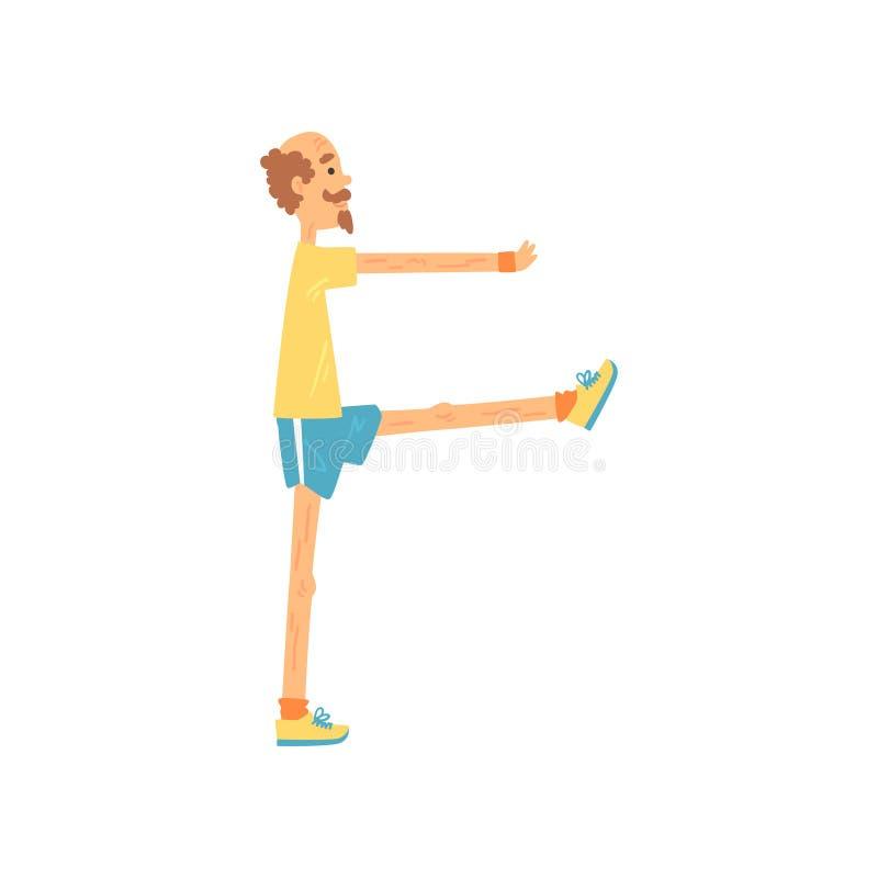 Pés de aumentação do homem adulto um por um, exercício do equilíbrio Desportista idoso que faz a ginástica da manhã Exercício e s