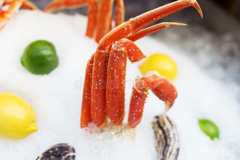 Pés de caranguejo de rei no gelo fotografia de stock