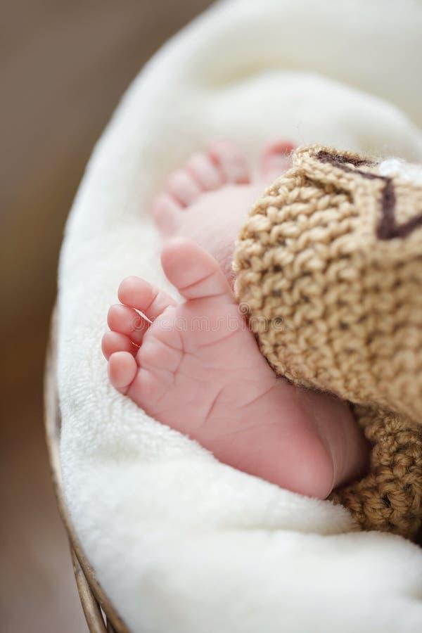 Pés de um bebê recém-nascido que dorme no cobertor branco foto de stock royalty free