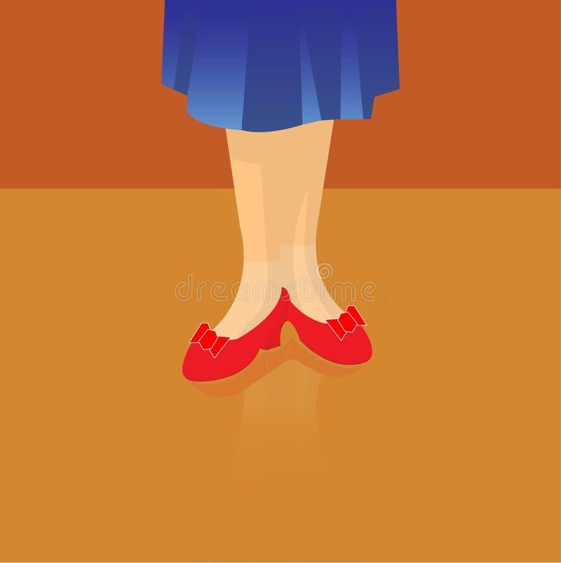 Pés de uma mulher com as sapatas elegantes vermelhas ilustração do vetor