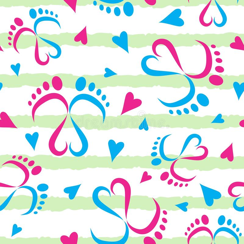 Pés do bebê e teste padrão sem emenda do vetor dos corações ilustração stock