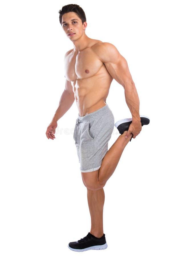 Pés do estiramento dos músculos do halterofilismo do halterofilista que esticam exercis imagem de stock royalty free