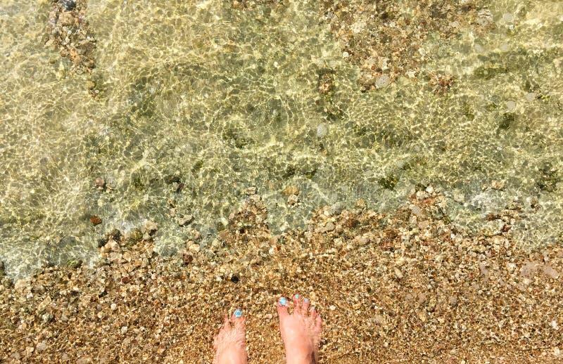 Pés do ` s da mulher na onda de água em Pebble Beach fotografia de stock royalty free