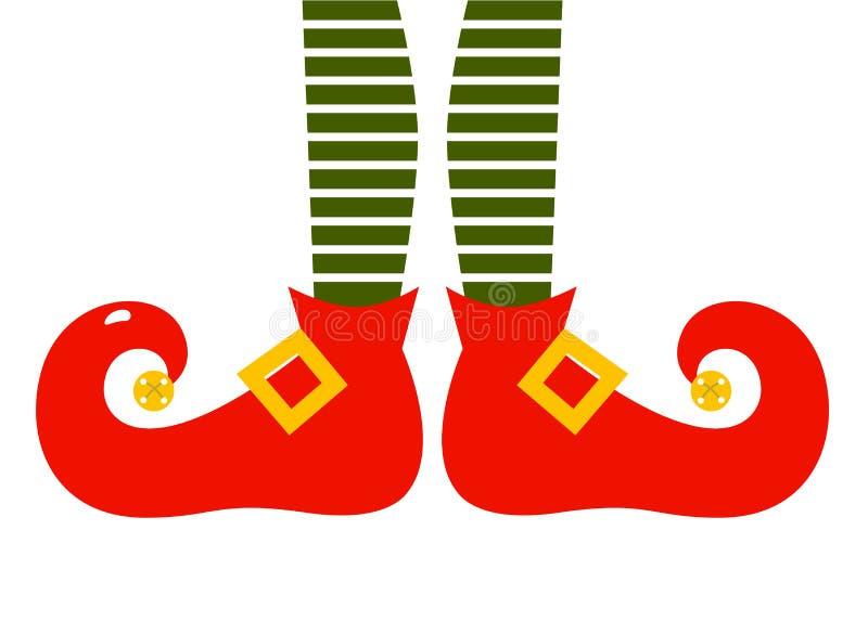 Pés dos elfs dos desenhos animados do Natal ilustração royalty free