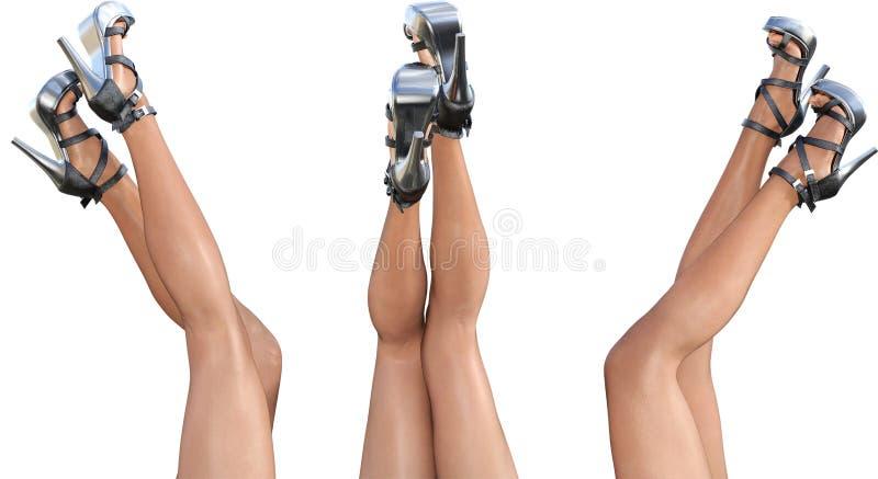 Pés fêmeas bonitos ajustados nos saltos altos das sandálias ilustração do vetor