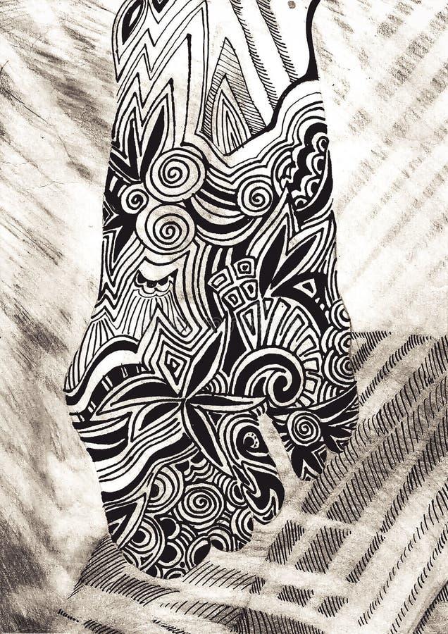 Pés fêmeas Desenhado à mão, ondas do mar Afogando a mulher Étnico, retro, garatuja, zentangle, elemento tribal do projeto fotos de stock royalty free