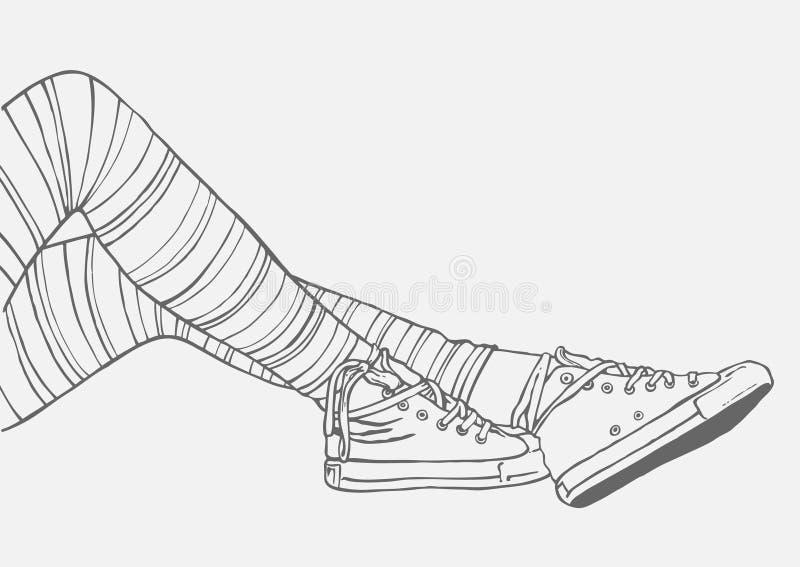 Pés fêmeas em meias e nas sapatilhas listradas ilustração do vetor