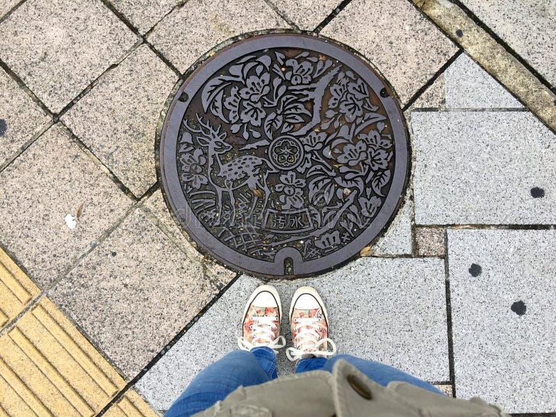 P?s f?meas que est?o na frente de uma c?mara de visita decorada no parque de Nara fotografia de stock