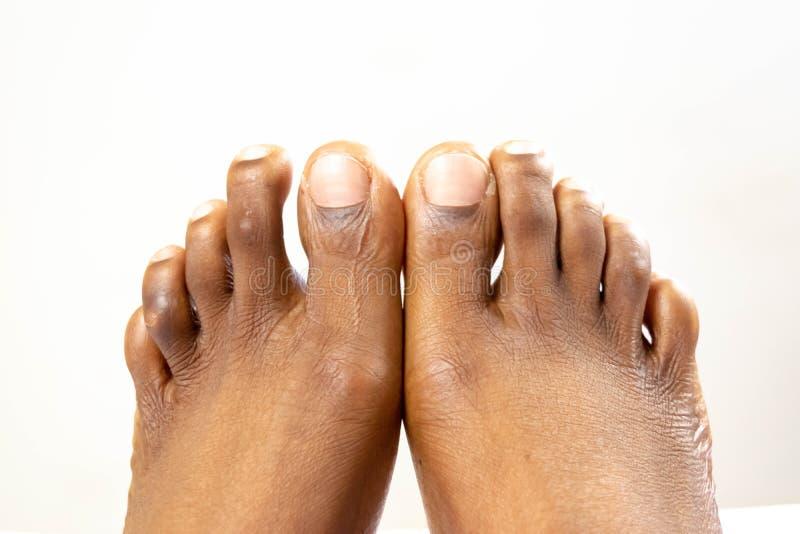 Pés lisos fêmeas pretos bonitos com pele lisa Bebê saudável do pé da mulher afro-americano Pés do despido do bebê isolados no whi imagens de stock