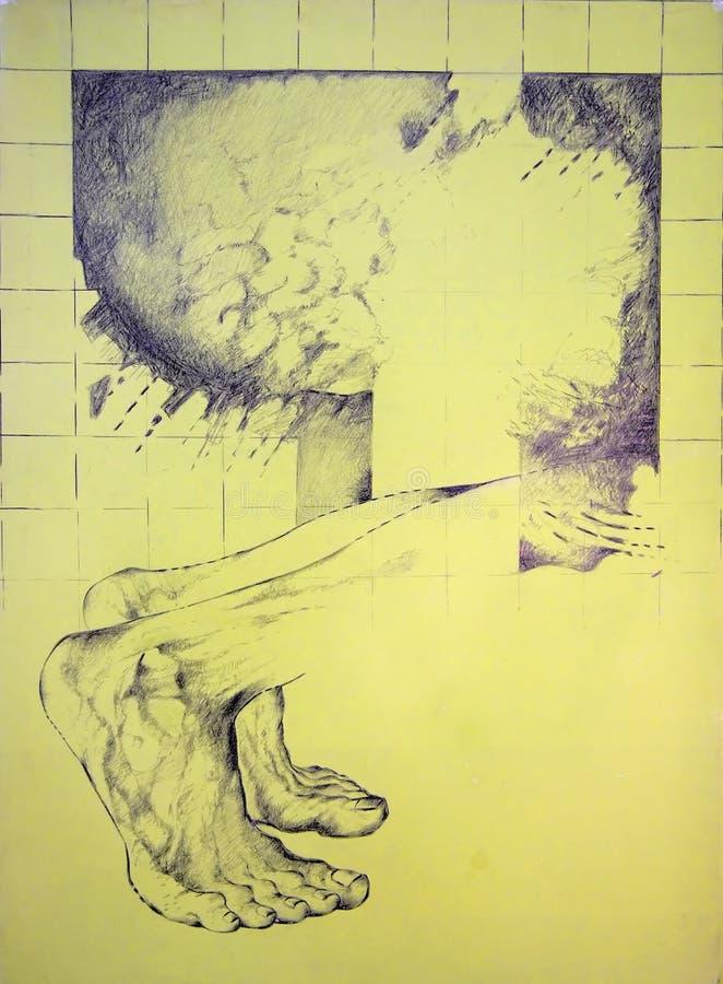 Pés masculinos anathomy ilustração royalty free