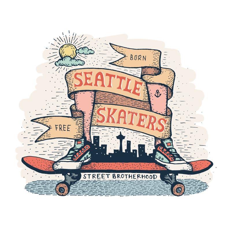 Pés nas sapatilhas que estão no skate, cercado pela fita heráldica ilustração royalty free