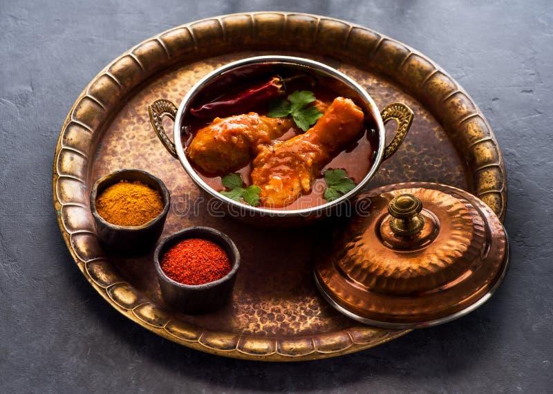 Pés picantes do caril da galinha Prato indiano da carne fotografia de stock