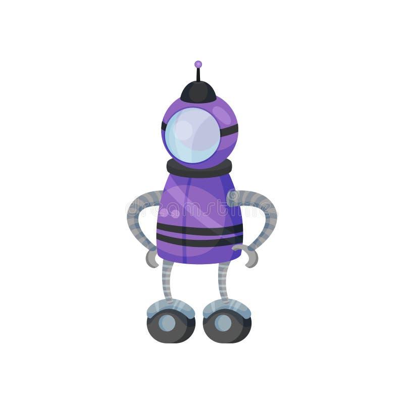 Pés roxos do robô com rodas Ilustra??o do vetor no fundo branco ilustração stock