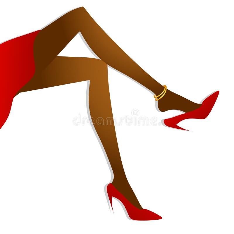 Pés 'sexy' longos e saltos elevados 2 ilustração stock
