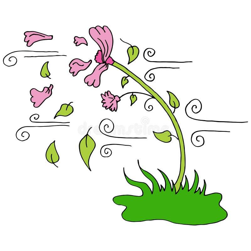 A pétala de sopro do vento sae fora da flor ilustração do vetor