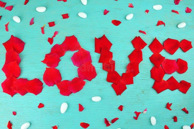 Pétalas cor-de-rosa do amor da palavra foto de stock