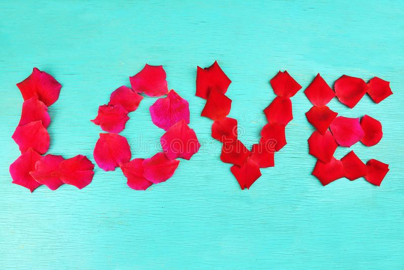 Pétalas cor-de-rosa do amor da palavra imagens de stock royalty free