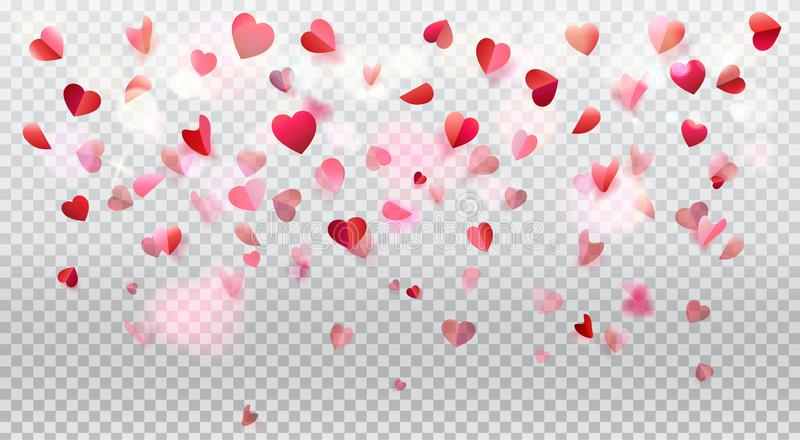 Pétalas cor-de-rosa dos corações romances do amor transparentes ilustração royalty free