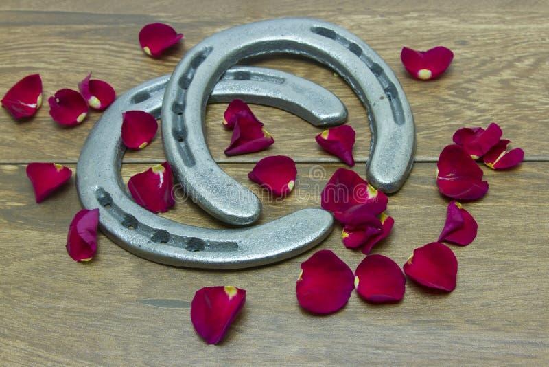 Pétalas cor-de-rosa vermelhas de Kentucky Derby com ferraduras fotografia de stock