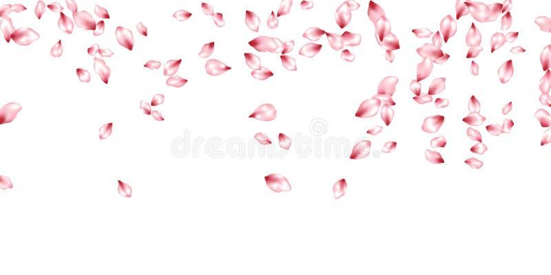 Pétalas da cereja que voam o fundo do convite do vetor A flor de queda da mola parte confetes, projeto da celebração dos elemento ilustração stock