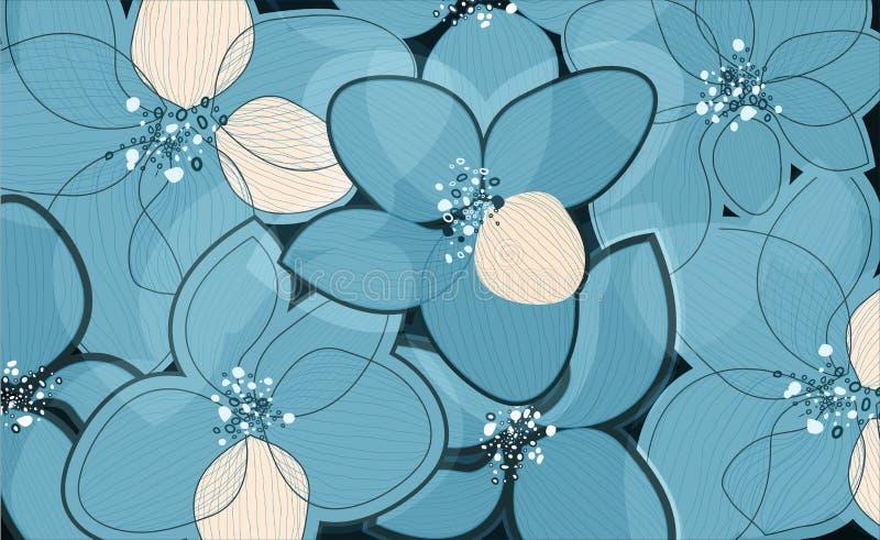Pétalas da flor de lótus azuis no fundo da arte Teste padrão criativo do vetor do esboço ilustração royalty free
