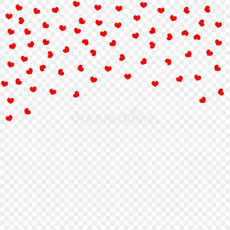 Pétalas de queda vermelhas do coração isoladas no fundo transparente, teste padrão Dia do ` s do Valentim, corações dos confetes  ilustração royalty free