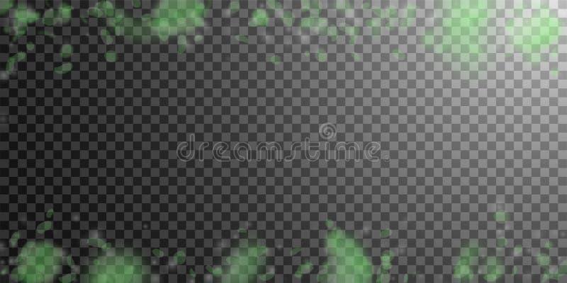 Pétalas verdes da flor que caem para baixo Chuva de queda romântica extravagante das flores Pétala do voo em w transparente ilustração royalty free