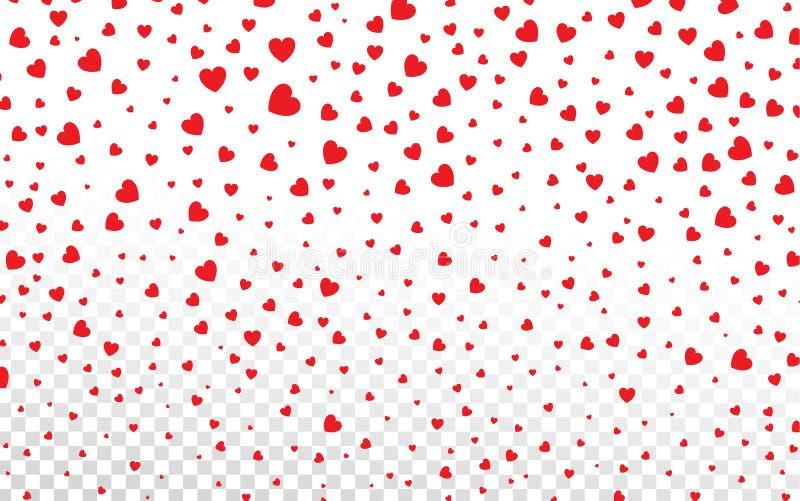 Pétalas vermelhas dos corações que caem no fundo branco para o ` s a Dinamarca do Valentim ilustração do vetor