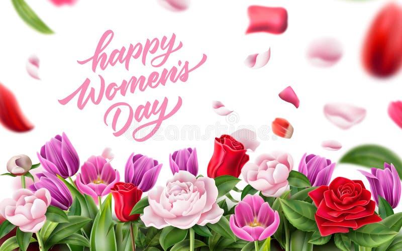 Pétale de rose de lettrage du jour des femmes heureuses de vecteur illustration de vecteur