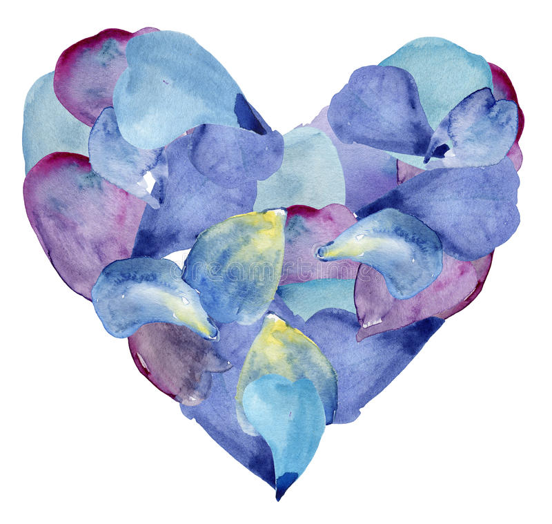 Pétales bleus et pourpres dans la forme du coeur Illustration d'aquarelle illustration libre de droits
