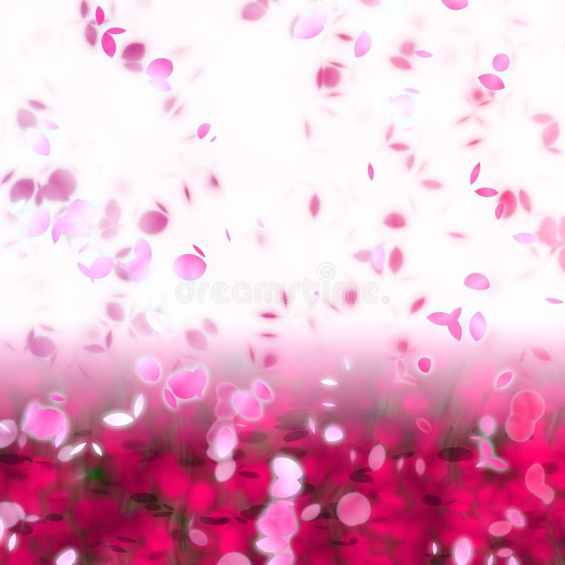 Pétales de fleur de cerise tourbillonnant dans le vent illustration libre de droits