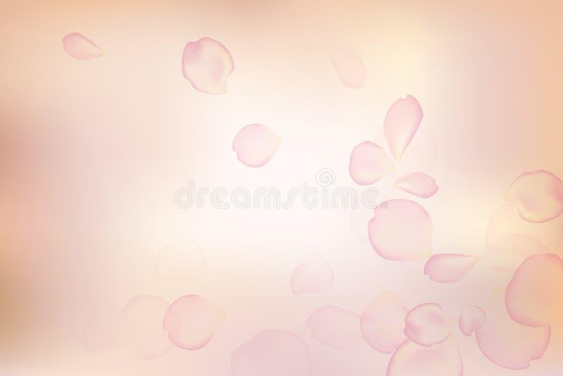 Pétales de rose roses dans la couleur douce fond de vecteur de style de tache floue illustration de vecteur
