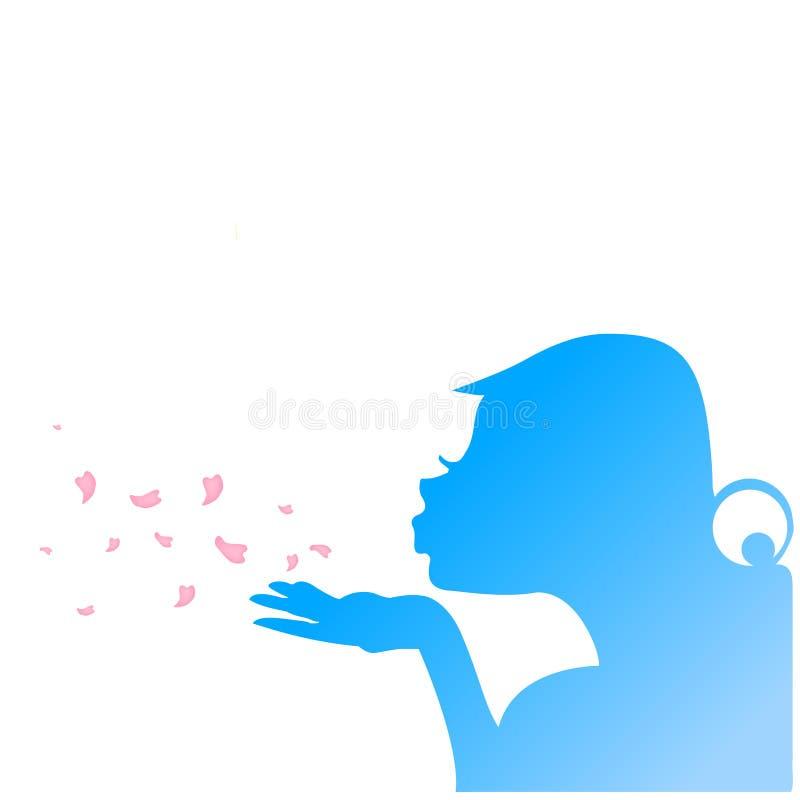 Pétales de soufflement de fleur de gentille fille illustration libre de droits