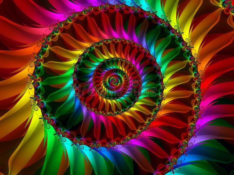 Pétales se développants en spirales d'arc-en-ciel illustration stock