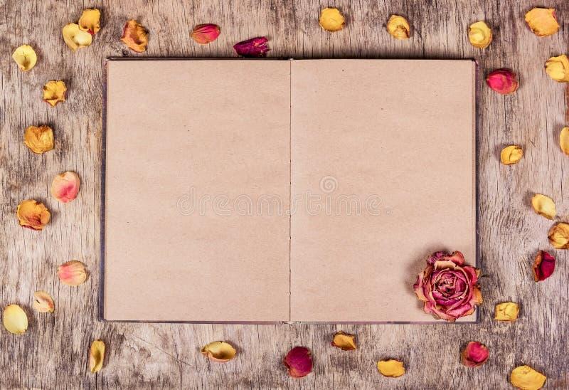 Pétalos abiertos del libro y de rosa en fondo de madera fondo romántico Fondo de papel Libro en blanco imágenes de archivo libres de regalías