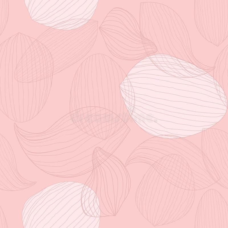 Pétalos artísticos de la flor de loto en fondo color de rosa Modelo creativo inconsútil del vector del esquema ilustración del vector