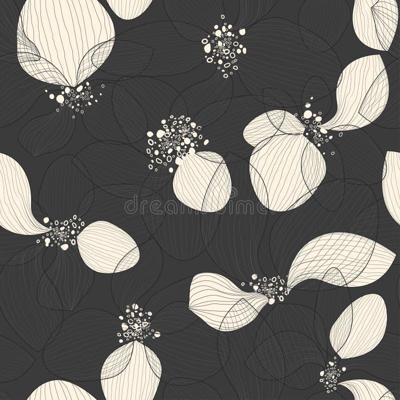 Pétalos artísticos de la flor de loto en fondo negro Modelo inconsútil creativo del vector del esquema ilustración del vector