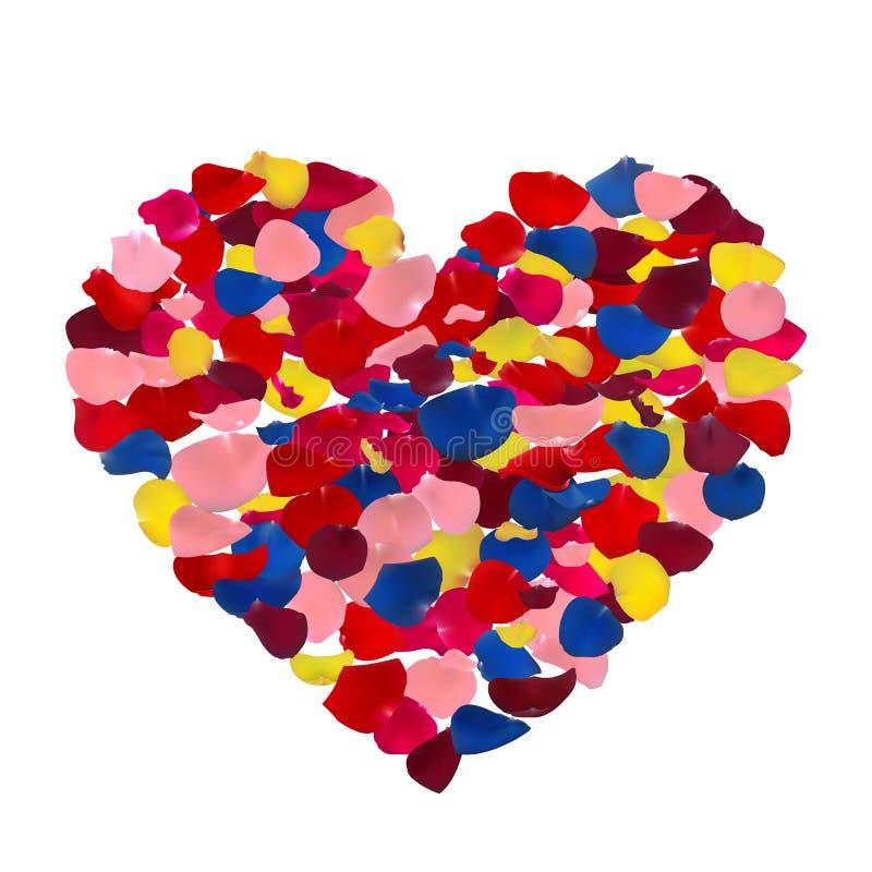 Pétalos color de rosa rosados, rojos, amarillos y azules ilustración del vector
