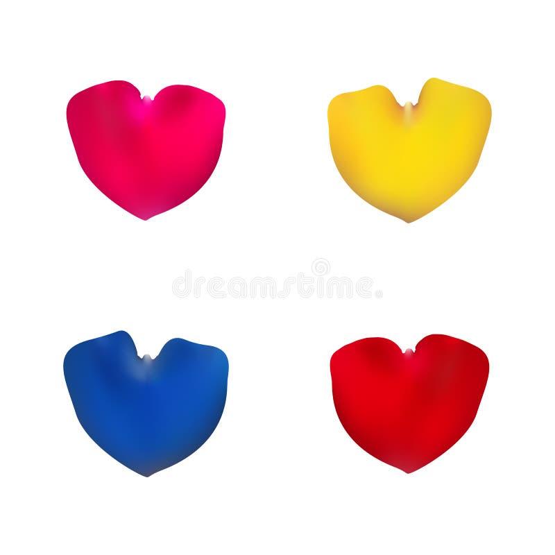 Pétalos color de rosa rosados, rojos, amarillos y azules fijados ilustración del vector