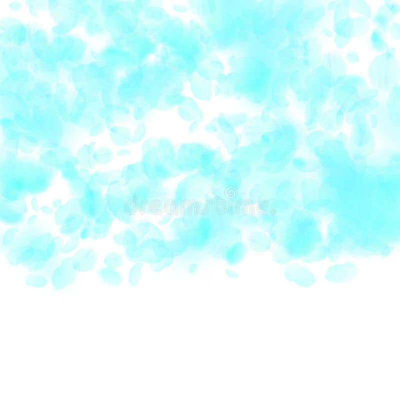 Pétalos de la flor de la turquesa que caen abajo Animadamente romano libre illustration
