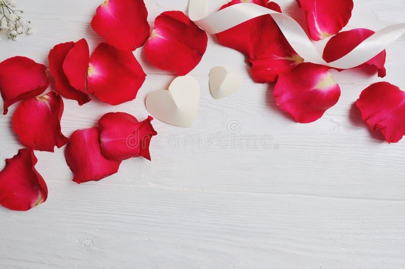 Pétalos de Rose de la maqueta con dos corazones blancos en un fondo de madera blanco, día del ` s de la tarjeta del día de San Va fotografía de archivo
