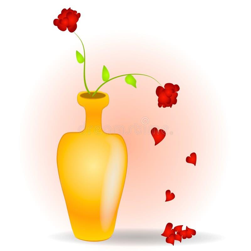 Pétalos de Rose que caen como corazones ilustración del vector