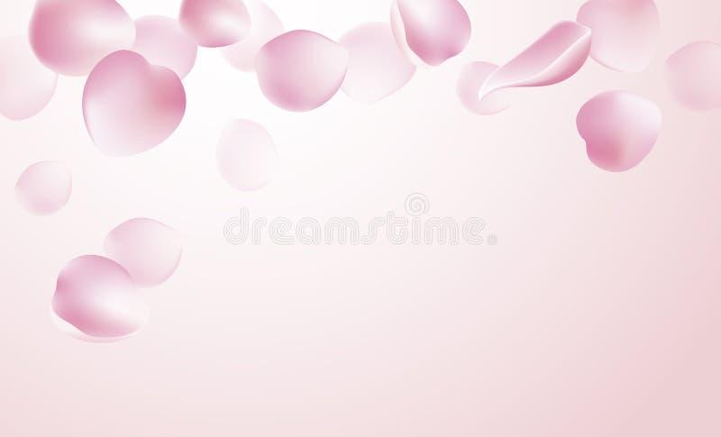 Pétalos de Rose que caen en fondo rosado libre illustration