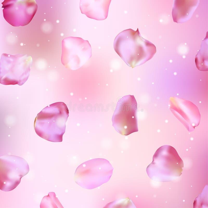 Pétalos de Rose rosados 01 Ilustración realista del vector ilustración del vector