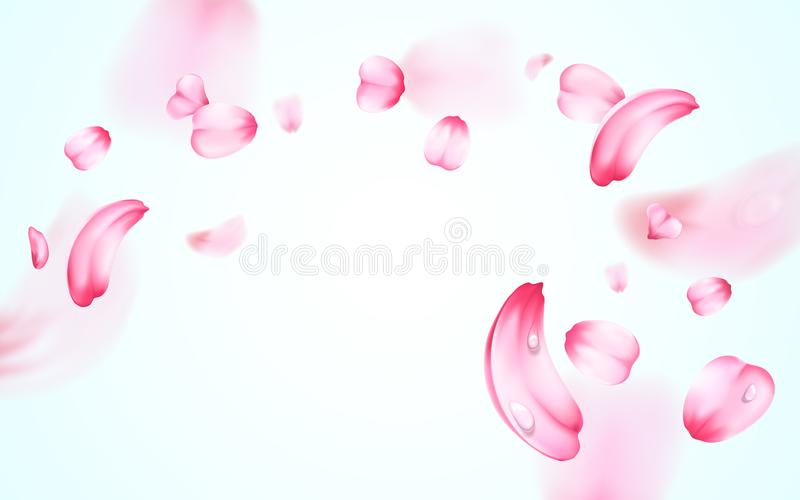 Pétalos que caen frescos rosados de Sakura con descensos del agua, rocío con efecto de la falta de definición Fondo del vector de stock de ilustración